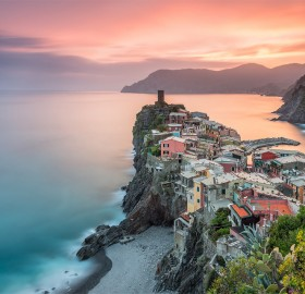 sunser over town of vernazza, italy