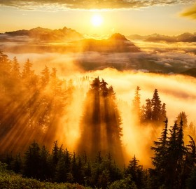 sunset atop evergreen mountain lookout, washington