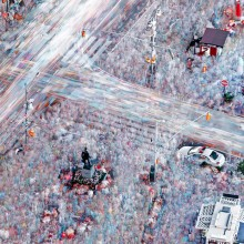 400 photos blended into one, times square