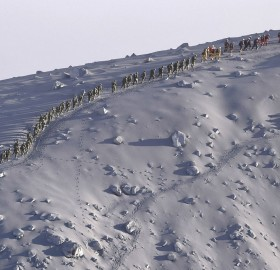 japanese rescue team climbing volcano