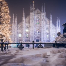milan dome after snowfall