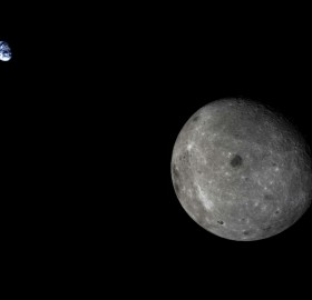 moon and earth as seen from chinese satellite CHANG`E-5T1