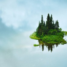 reflection of small island, tumuch lake