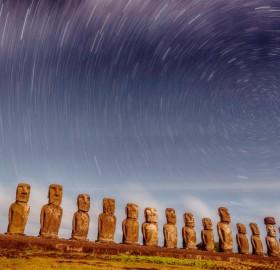 star trails over rapa nui national park, easter island