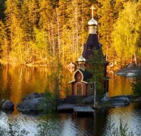 temple on a tiny island, russia