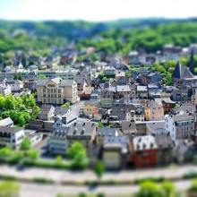 tilt-Shift photo of idar-Oberstein town, germany