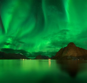 amazing northern lights sky of lofoten, norway