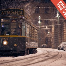 tram in winter, milan