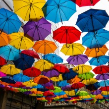 umbrella street, belgrade, serbia