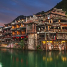 Ancient Village Built on The Jiang River, China