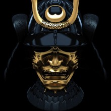 Black And Gold Ancient Samurai Mask