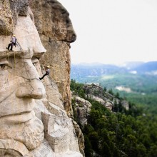 Climbing On Mount Rushmore