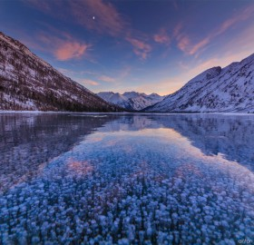 Frozen Bubbles of Multinskiye Lake, Russia