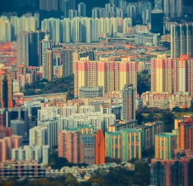 Hong Kong Neighborhood In Tilt-Shift