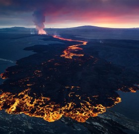 Lava Fountains of The Eruption in Holuhraun, Iceland