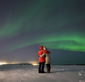 Love Story Below Northern Lights