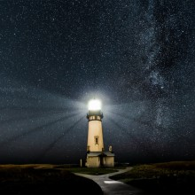 Starry Night Over Lighthouse, Oregon