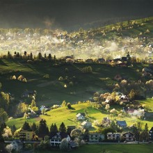 Village in Beskids Mountains, Poland