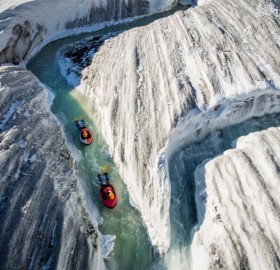 Water Sliding In Glacier