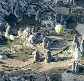 Air Balloon Floats Above Cappadocia, Turkey