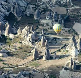 Air Balloon Floats Above Cappadocia, Turkey