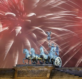 Fireworks Explode Over The Quadriga Sculpture, Berlin