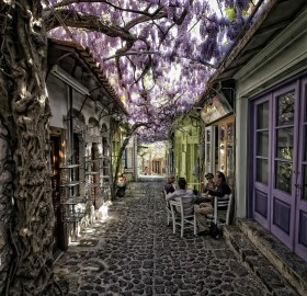 Magical Flower Street In Greece