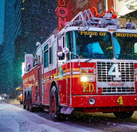 New York City Fire Engine During Snow Storm