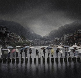 Rainy Day In Ancient City, China