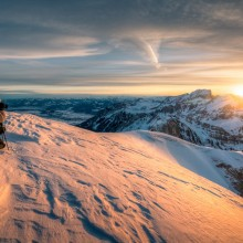 Taking Photo Of Sunset Over The Alpes