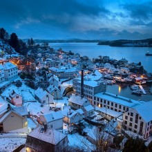 Blue Dusk At Salhus Village Near Bergen, Norway
