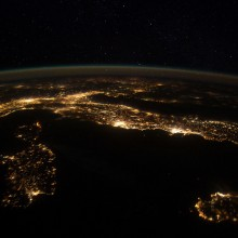 Italy At Night From International Space Station