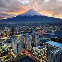 Mount Fuji Overlooking City Of Yokohama