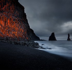 Sunset At Black Sand Beach, Iceland