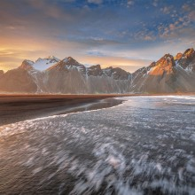 Sunset in Vestrahorn, Iceland