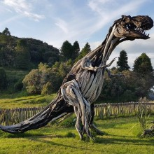 T-Rex Made From Driftwood, New Zealand