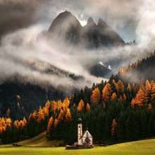 An Italian Church In The Middle Of Fall