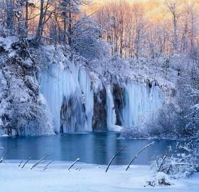 Frozen Waterfalls Of Plitvice National Park, Croatia