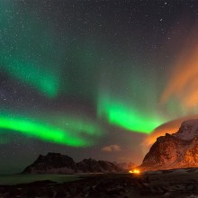 Northern Lights On The Utakleiv Beach, Lofoten Islands, Norway