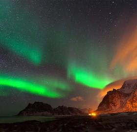 Northern Lights On The Utakleiv Beach, Lofoten Islands, Norway