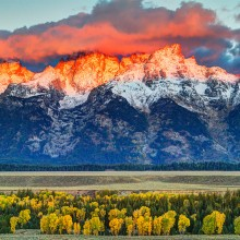 The Teton Range Orange Glow, Wyoming