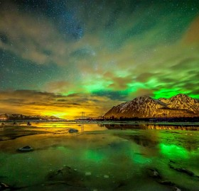 Green Aurora Above Sortland, Norway