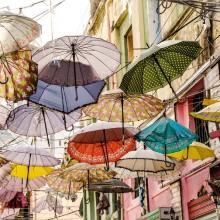 Umbrellas At Streets Of Albania