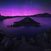 Purple Aurora Borealis Over Crater Lake, Oregon