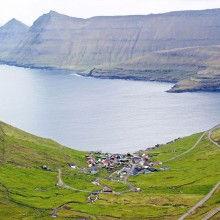 Small Town Funningur On Coast Of Faroe Islands