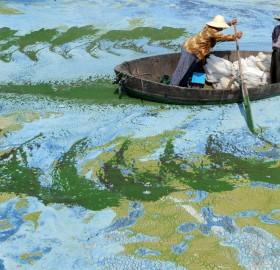 Fishermen Row A Boat In Chaohu Lake, China