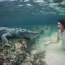 Girl Swims With A Crocodile, Mexico