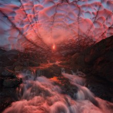 Ice Cave Under A Volcano, Kamchatka, Russia