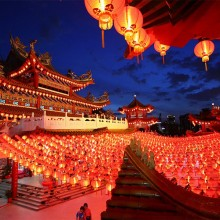 Lanterns Hung In A Temple In Kuala Lumpur In Celebration Of New Year