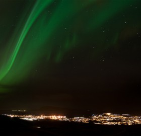 The Northern Lights Over Tórshavn, The Capital Of The Faroe Islands
